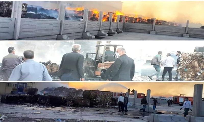آتش سوزی شرکت پیشگامان صنعت کاغذ زرندیه خسارت جانی نداشت
