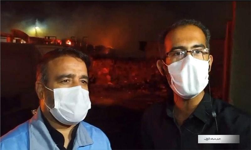 خسارت سنگین آتش سوزی به دو واحد صنعتی در شهرک صنعتی حیدریه+ فیلم