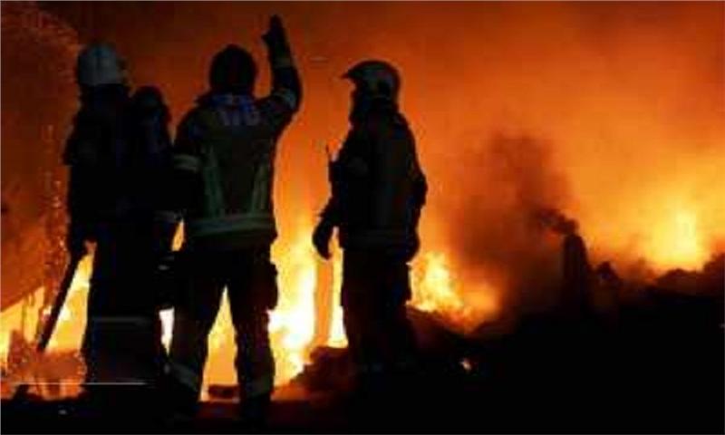 آتش سوزی در کارگاه تولید اقلام بهداشتی در ساوه