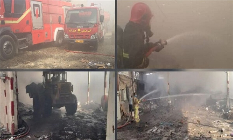 حریق گسترده در کارگاه کارتنسازی«جلیلآباد» اطفا شد